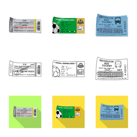 Vector illustration of ticket and admission sign. Collection of ticket and event vector icon for stock.