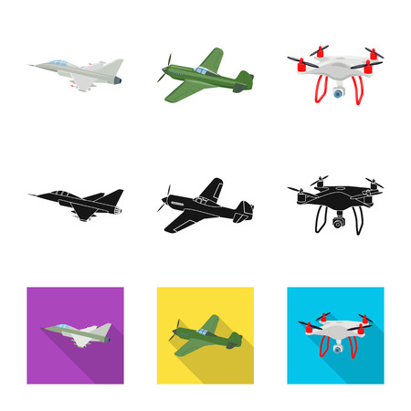 Isolated object of plane and transport icon. Collection of plane and sky vector icon for stock.