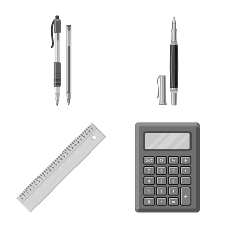 Vector design of office and supply symbol. Collection of office and school vector icon for stock.  イラスト・ベクター素材