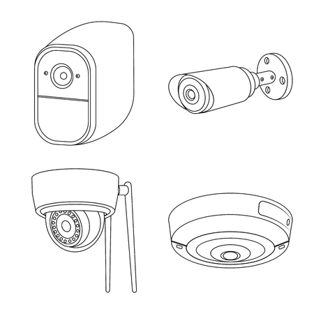20 324 camera outline stock illustrations cliparts and royalty free Street View Camera System vector design of cctv and camera logo set of cctv and system stock symbol for