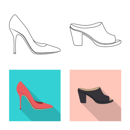 Isolated object of footwear and woman icon. Collection of footwear and foot stock vector illustration.