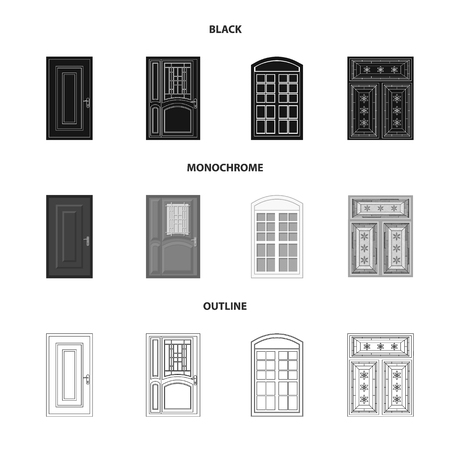 Vector illustration of door and front sign. Set of door and wooden stock symbol for web.