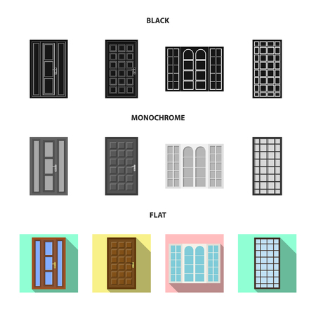 Vector illustration of door and front icon. Collection of door and wooden vector icon for stock.
