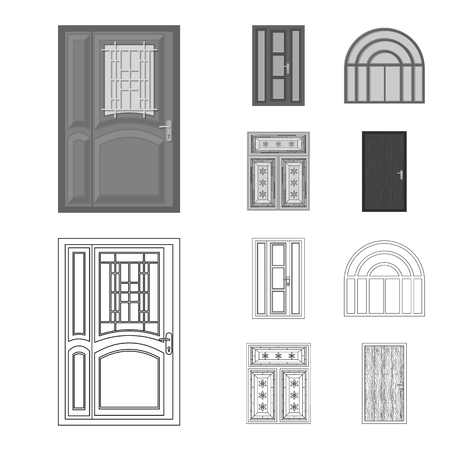 Isolated object of door and front sign. Collection of door and wooden stock symbol for web.