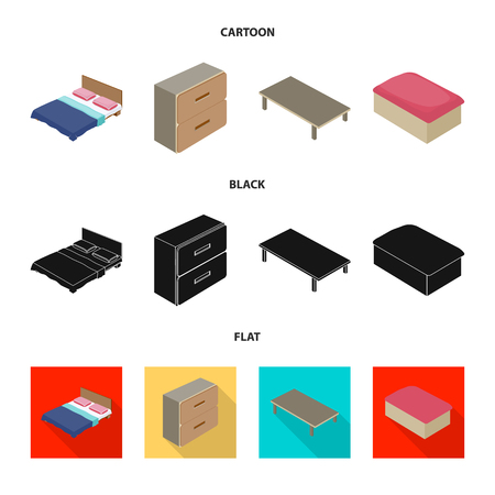 Isolated object of bedroom and room icon. Set of bedroom and furniture vector icon for stock. Illustration