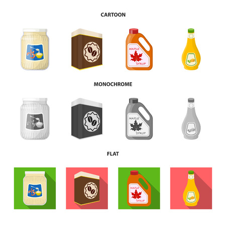Vector illustration of can and food icon. Collection of can and package vector icon for stock. Ilustrace