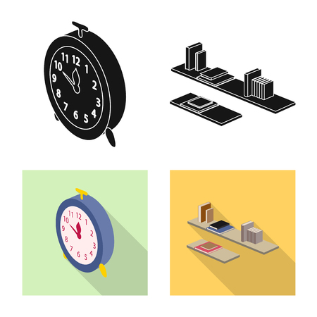 Vector illustration of bedroom and room sign. Collection of bedroom and furniture vector icon for stock.