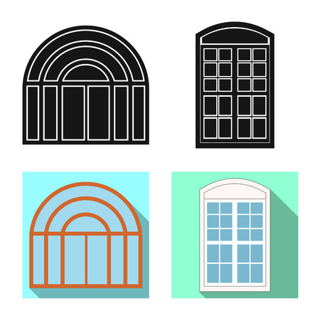 Vector illustration of door and front sign. Set of door and wooden vector icon for stock.