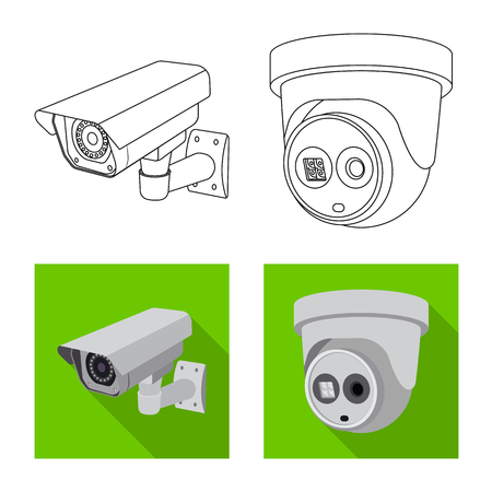 Isolated object of cctv and camera sign. Collection of cctv and system stock symbol for web.