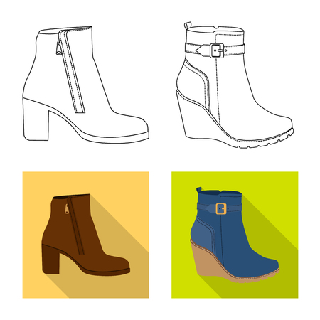 Vector illustration of footwear and woman icon. Set of footwear and foot stock symbol for web. 向量圖像