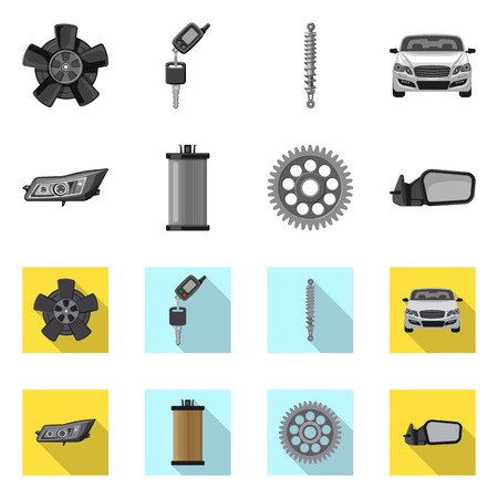 Vector design of auto and part symbol. Set of auto and car stock symbol for web.