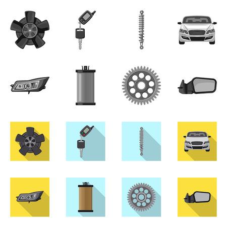Vektordesign des Auto- und Teilsymbols. Satz von Auto- und Autoaktiensymbolen für das Web.