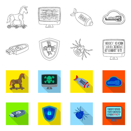 Vector design of virus and secure icon. Set of virus and cyber vector icon for stock. Illustration