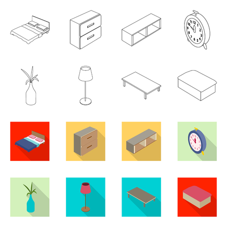 Vector design of bedroom and room icon. Collection of bedroom and furniture stock symbol for web. Illustration
