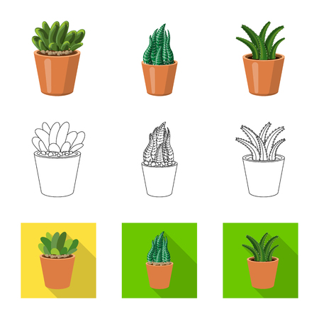 Vector illustration of cactus and pot sign. Collection of cactus and cacti stock vector illustration. Illustration