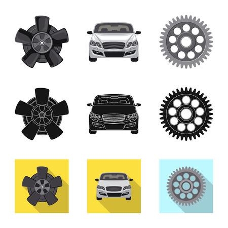 Vector design of auto and part icon. Collection of auto and car vector icon for stock. 免版税图像 - 110035078