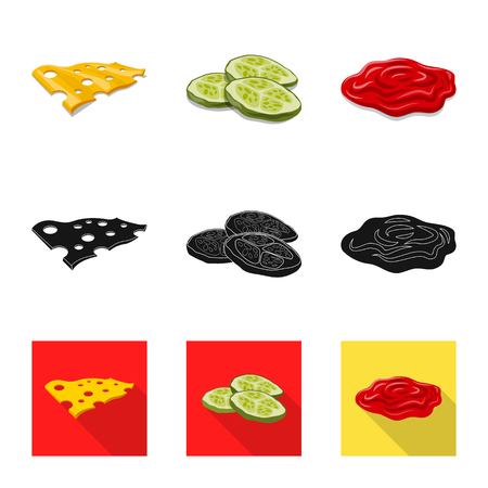 Vector illustration of burger and sandwich icon. Collection of burger and slice stock vector illustration. Illustration