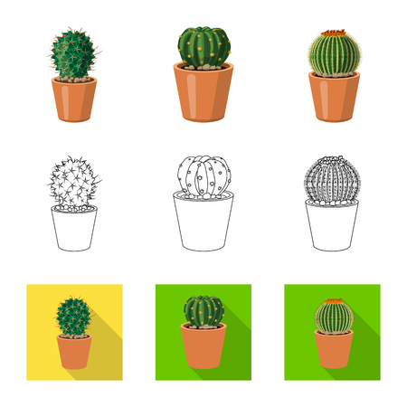 Isolated object of cactus and pot icon. Set of cactus and cacti stock symbol for web.
