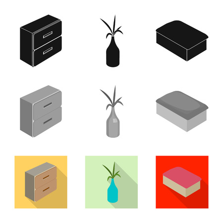 Vector illustration of bedroom and room symbol. Collection of bedroom and furniture stock symbol for web. Illustration