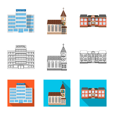Vector design of building and front sign. Collection of building and roof vector icon for stock.