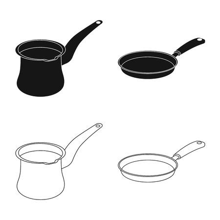 Objet isolé du symbole de cuisine et cuisinier. Ensemble d'icône de vecteur de cuisine et appareil pour le stock. Vecteurs