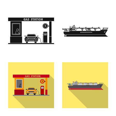 Vector design of oil and gas symbol. Collection of oil and petrol stock symbol for web. Vektoros illusztráció