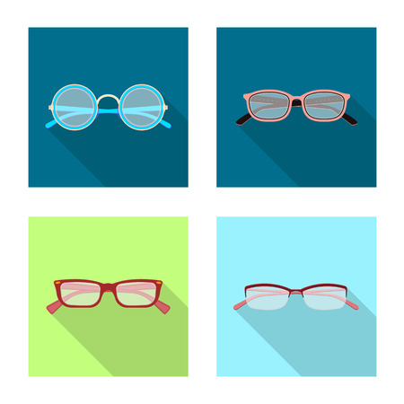 Vector illustration of glasses and frame sign. Set of glasses and accessory stock vector illustration.