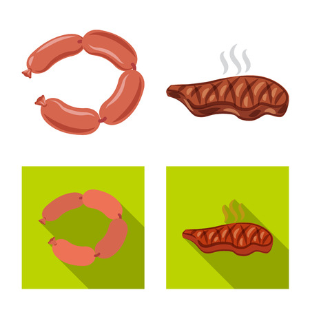 Vector design of meat and ham icon. Collection of meat and cooking stock symbol for web.