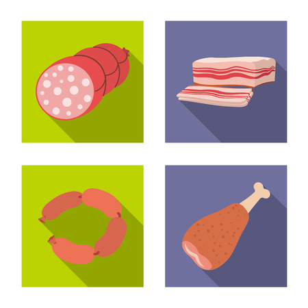 Vector illustration of meat and ham logo. Collection of meat and cooking stock symbol for web.