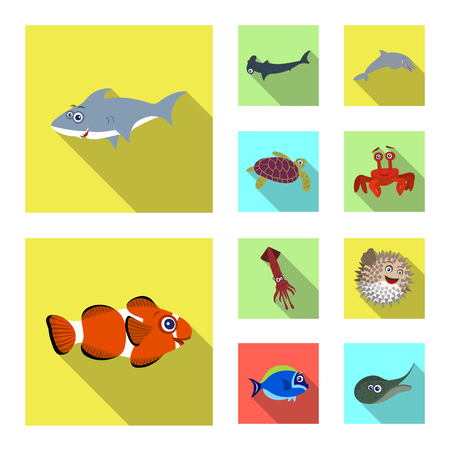 Isolated object of sea and animal logo. Collection of sea and marine stock symbol for web.