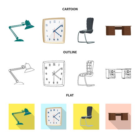 Isolated object of furniture and work icon. Collection of furniture and home vector icon for stock.