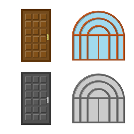 Vector illustration of door and front symbol. Collection of door and wooden stock symbol for web.