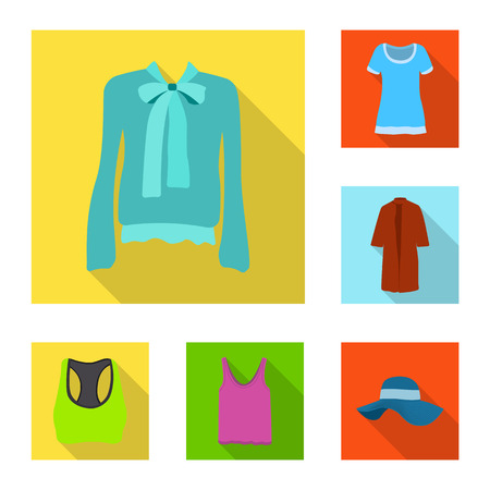 Vector illustration of woman and clothing symbol. Set of woman and wear stock vector illustration. Illustration