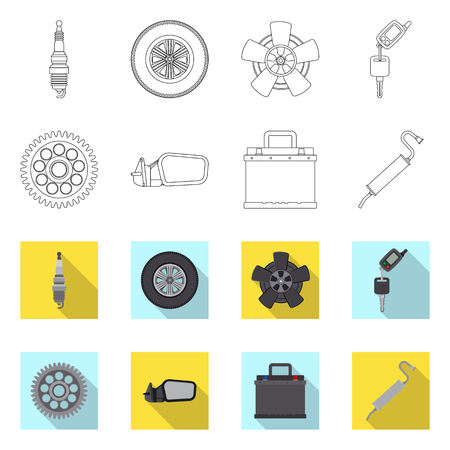 Vector design of auto and part sign. Collection of auto and car vector icon for stock.