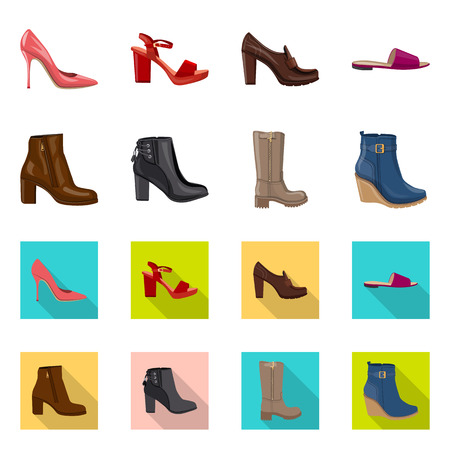 Isolated object of footwear and woman symbol. Set of footwear and foot stock symbol for web.
