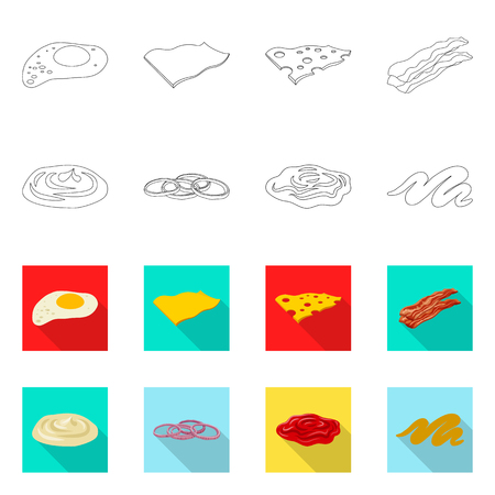 Isolated object of burger and sandwich symbol. Set of burger and slice stock symbol for web.