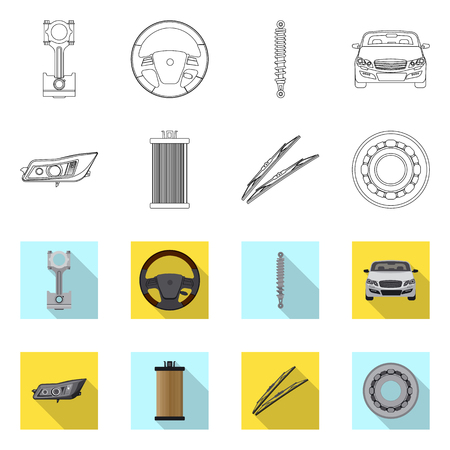 Vector design of auto and part sign. Collection of auto and car stock vector illustration.