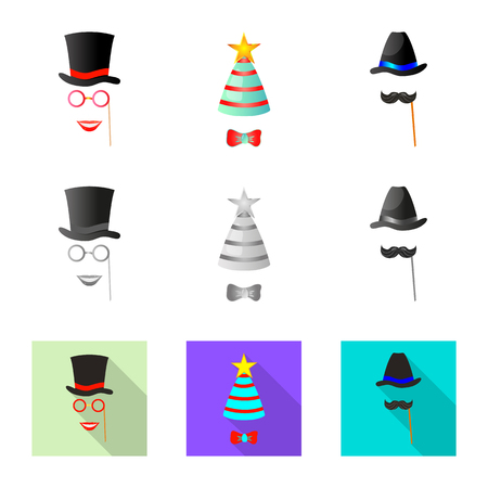 Vector design of party and birthday icon. Collection of party and celebration vector icon for stock. Illustration