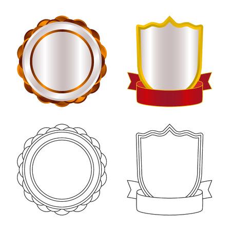 Vector design of emblem and badge sign. Set of emblem and sticker stock symbol for web. Stockfoto - 110066317