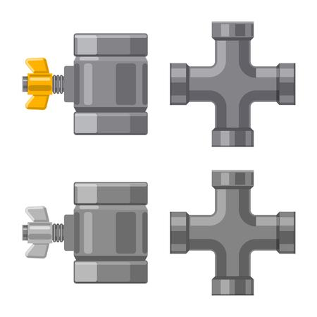 Vektorillustration von Rohr und Rohrzeichen. Sammlung von Rohr und Rohrleitungsvektorsymbol für Lager.