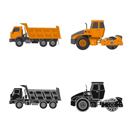 Objet isolé du logo de construction et de construction. Collection de symbole boursier de construction et de machines pour le web.