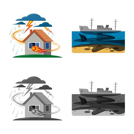 Oggetto isolato dell'icona naturale e disastro. Set di naturale e rischio stock illustrazione vettoriale.