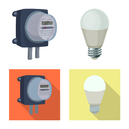 Vector illustration of electricity and electric symbol. Set of electricity and energy stock vector illustration.