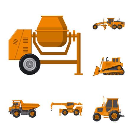 Isoliertes Objekt von Bau- und Konstruktionszeichen. Sammlung von Build- und Maschinenaktiensymbolen für das Web. Vektorgrafik