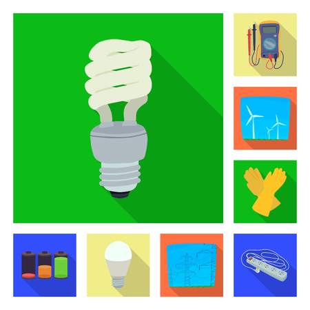 Vector design of electricity and electric sign. Set of electricity and energy vector icon for stock. Illustration