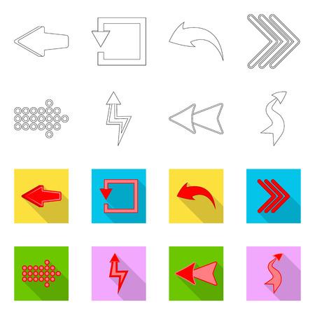 Vector illustration of element and arrow sign. Set of element and direction stock vector illustration. Иллюстрация