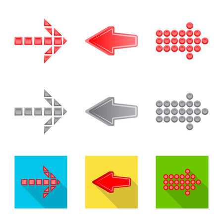 Vector illustration of element and arrow symbol. Set of element and direction stock vector illustration.