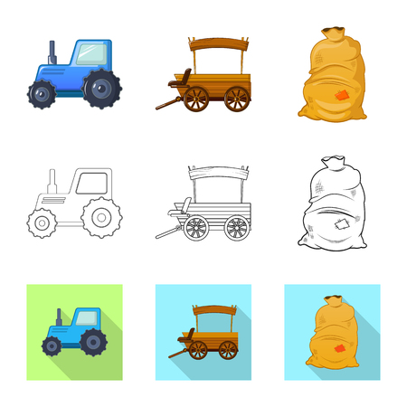Vector design of farm and agriculture logo. Collection of farm and plant vector icon for stock.