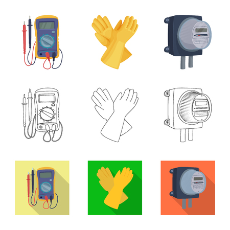 Vector illustration of electricity and electric sign. Set of electricity and energy vector icon for stock.