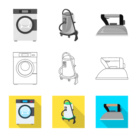 Vector design of laundry and clean sign. Set of laundry and clothes stock symbol for web.